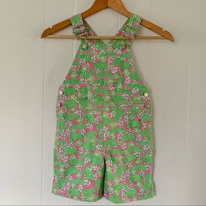 Vintage Lilly Pulitzer Kids Overalls Hippo Print